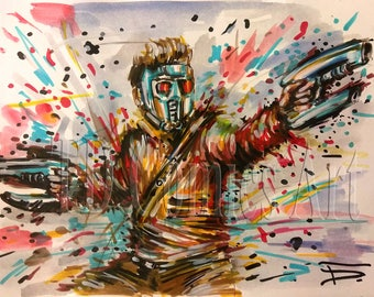 Original Star-Lord watercolors markers comics art painting marvel art, comics poster,free shipping, Guardian of the galaxy Vol 2,wall art