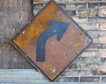 Vintage Metal road sign Arrow Curve Turn warning Rustic weatherd industrial Salvage square 24 inch