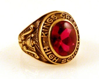 1947 10K Yellow Gold Class Ring with Flame Fusion Corundum Ruby - Kings Creek High School - Inscribed - Vintage Women's Ring - Herff Jones