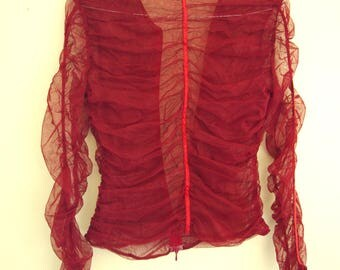 Red ruched mesh top, size small