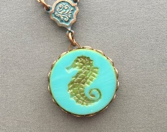 Seahorse Necklace - Seahorse Jewelry - Ocean Necklace - Beach Jewelry - Ocean Jewelry - Summer Jewelry - Beach Necklace - Turquoise Pendant