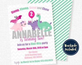 Dinosaur Birthday Invitation, Dinosaur Party Invites, Girl Birthday Invitation, Double Sided Invitation