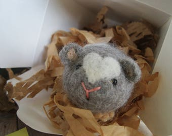 Hamster needle felted toy or collectible gray and white guinea pig