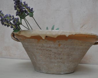 Vintage French Confit Bowl Semi Glazed Earthenware Tian, Confit Pot, Cassoulet Bowl