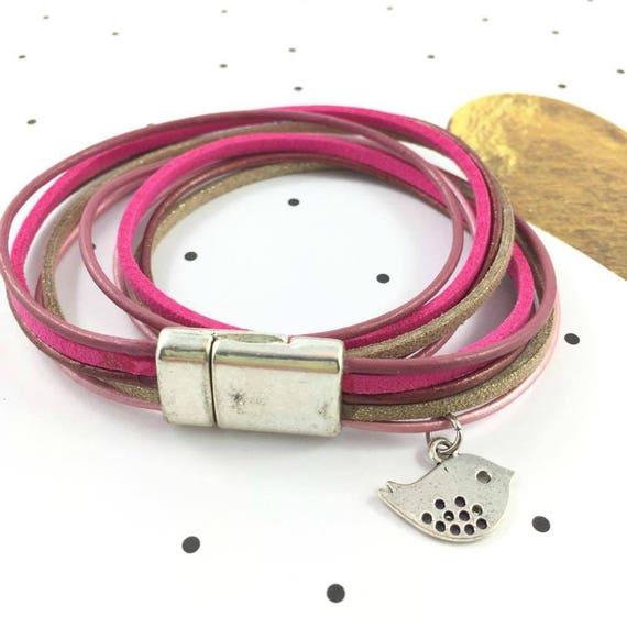 Leather, magnetic, magnet, bracelet, pink, gold, beige, bird charm, choker necklace, magnet, les perles rares