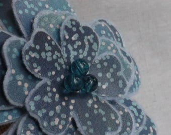 Flower Brooch in Slate Blue Print