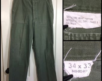 1960s Vietnam 4 pocket button fly side straps US Military cotton sateen utility trousers 34x33, measures 31x30 Army green baker pants #109