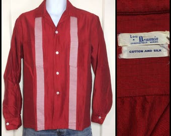 1950s red white striped silk and cotton loop shirt looks size large rockabilly 2 pockets shimmer