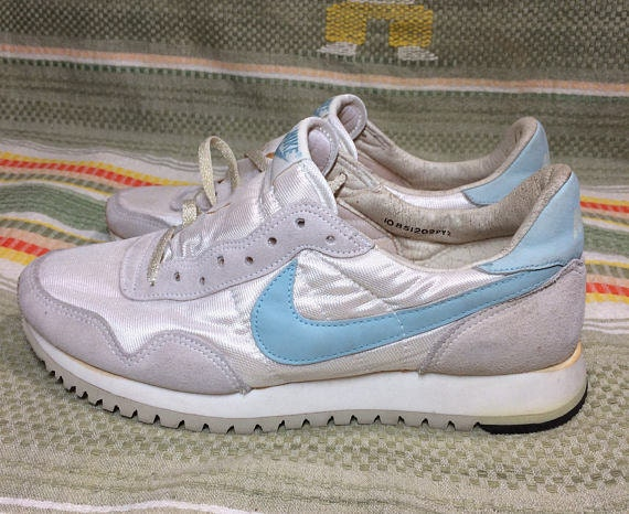 deadstock womens 1985 Nike running shoes white light blue swoosh size 10