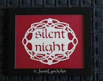 Scherenschnitte Paper Cutting Christmas Quote - Silent Night - Framed  8x10 - Hand Cut and Signed By Janet Lynch