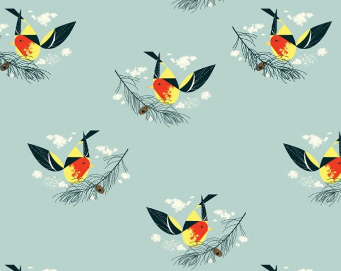 Organic KNIT Fabric - Charley Harper Western Birds - Western Tanager Knit