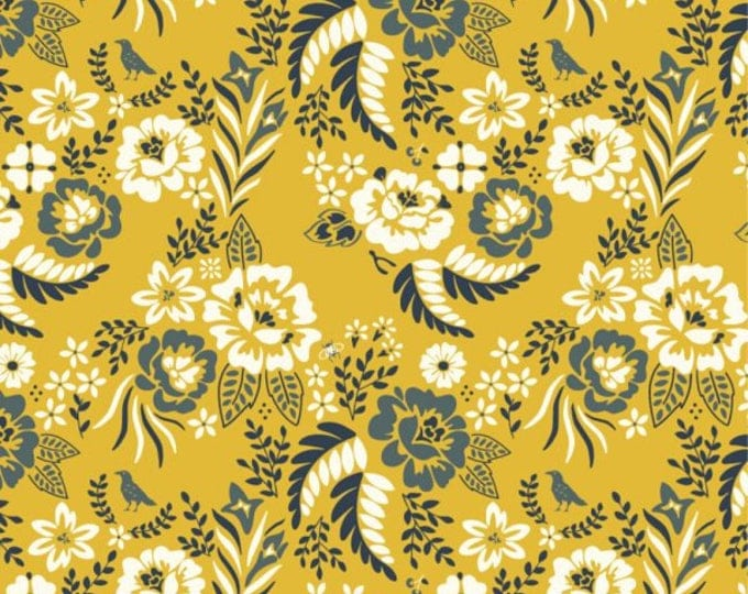 Organic Canvas Fabric - Birch Merryweather Canvas- Merry Floral in Marigold Canvas