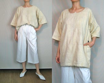 Parchment Oversized Woven Canvas Top / 70s Tunic Top / Woven Tunic Top