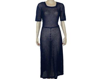 M Vintage 1930's Blue Crochet Lace Dress, Medium 10
