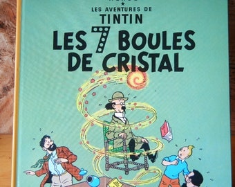Vintage book Les Aventures de Tintin -Les Sept Boules de Cristal French Edition Hardcover by Herge 1975 The Seven Crystal Balls