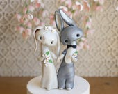 Bunny Rabbit Wedding Cake Topper in Grey and White by Bonjour Poupette