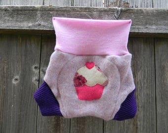 Upcycled Wool Soaker Cover Diaper Cover With Added Doubler Speckled Lavender/ Purple With Cupcake Applique MEDIUM 6-12M
