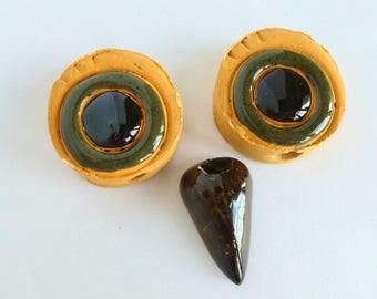 Macrame Owl Eyes and Beak Ceramic Beads Set in Yellow Orange, Avocado Green, and Brown