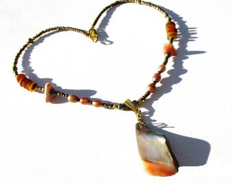 Mother of Pearl, pendant choker, 16 inch necklace, warm tone pearls