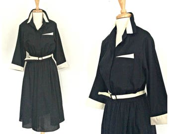 Vintage 40s Style Dress - swing dress - 70s dress - midi - Lucy dress - fit and flare - M