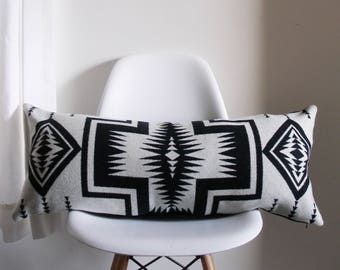 Black and White Pillow Cover - Wool Pillow Cover - 13X31 - Pendleton wool - Lumbar - ready to ship