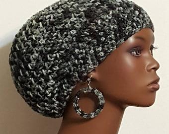 Granite Crochet Beret Tam Cap with Earrings by Razonda Lee Razondalee