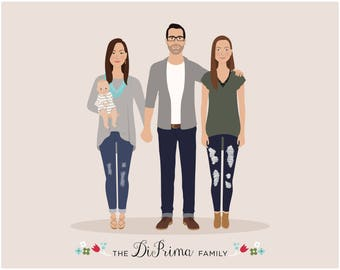custom family portrait, family christmas gift