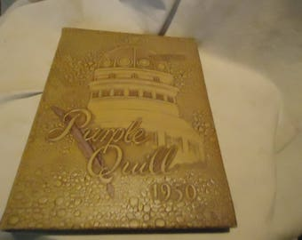 Vintage 1950 Purple Quill Ball High School Yearbook or Annual, Galveston Texas, collectable