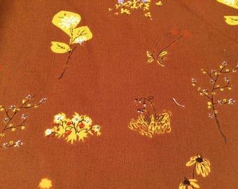 Heather Ross Lightning Bug Brown Wild Flowers FQ