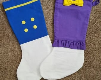 Donald and Daisy Duck Disney Inspired Christmas Stockings