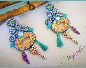 handmade big soutache earrings OOAK