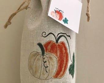 Pumpkin Wine Bag, Linen Wine Bag, Bag with Gift Card, Bag & Card, Thanksgiving Wine Bag, Halloween Wine Bag, Party Favor, Hostess Gift
