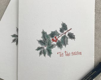 Illustrated Cards, Holly Cards, Holiday Cards, Thank You Cards, Set, Blank Inside, Tis The Season, Greeting Cards, Holiday Hostess Gift