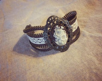 Steampunk Inspired Cameo Zipper Bracelet