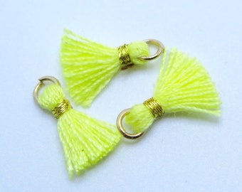 Mini Cotton Jewelry Tassels with Gold Binding and Gold Plated Jump Ring, Yellow Tassels, 3 pcs Approx 10mm - MT12