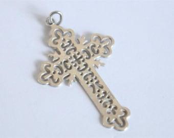 Vintage sterling silver cross.  Ornate silver cross.  Vintage jewellery