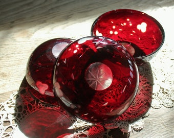 3 Beautiful Antique Ruby Bohemian Glass  Cut to Clear Bowls
