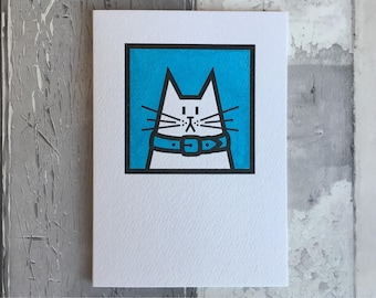 Cat Card - blue greetings card, hand-printed cat card - birthday card - thank you card - collectible card