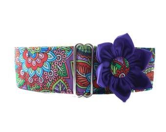 Purple Martingale Collar, 1.5 Inch Martingale Collar, Floral Martingale Collar, Purple Dog Collar, 1.5 Inch Dog Collar, Floral Dog Collar