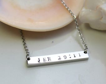 Personalized Bar Necklace - Bible Verse Necklace - Scripture Necklace - Bridesmaid Gift - Rose Silver Gold Necklace - Girlfriend Gift