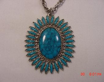 Vintage Faux Turquoise Pendant Necklace  17 - 746