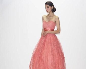 On SALE 35% Off - 1950s Coral Pink Wedding Dress  - Vintage Pink Wedding Dress - 50s Wedding Dress  - Vintage 50s Prom Dress  - WD0552