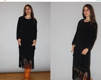 FLASH SALE - 1980s Designer Vintage Bill Blass Suede Fringe Minimalist Sac Dress -  Bill Blass  -  80s Designer Black Dress  - WD0833