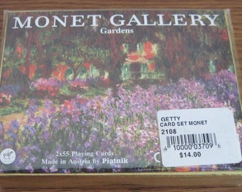 Vintage Double Deck Playing Cards Monet Gallery Gardens Made In Austria By Piatnik Still Sealed Never Used # 2108