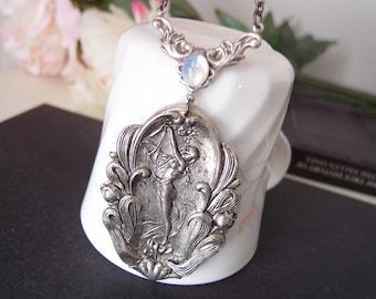 Aged silver brass art nouveau woman goddess, vintage moon stone glass jewel,Victorian,GothN 025