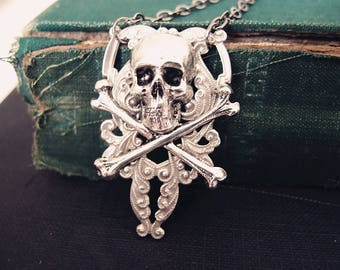 Sturdy ornate filigree Victorian skull cameo gothic necklace,S027
