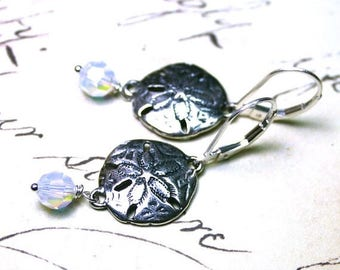 ON SALE Sterling Silver Sand Dollar Earrings with Opal Crystal Drops - All Sterling Silver and Swarovski Crystal