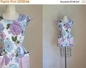 AWAY SALE 20% off vintage 1940s apron top - BLUE Bouquet floral cobbler apron