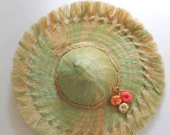 AWAY SALE 20% off vintage 1960s straw hat - MELON souvenir hat
