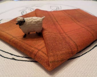 Primitive PUMPKIN Hand Dyed and Felted Wool, Rug Hooking, Applique, Penny Rugs, Textile Arts